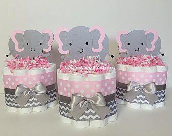 Varía 3 rosa y gris pastel de pañales Mini Girl Baby Shower, centro de mesa de Pink Elephant, decoración Safari, selva, Chevron, gris