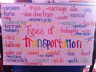 transportation - nice sign to work on during shared writing