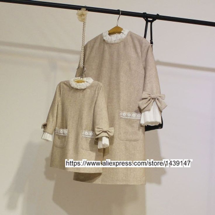 (36.75$)  Buy here  - Spring Autumn child kid clothing Family Bottoming clothes Light beige dress for Mom girls Lady Woman cuff big Bow butterfly Knot