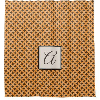 Yellow Woven Rattan on Custom Color with Monogram Shower Curtain - rustic gifts ideas customize personalize