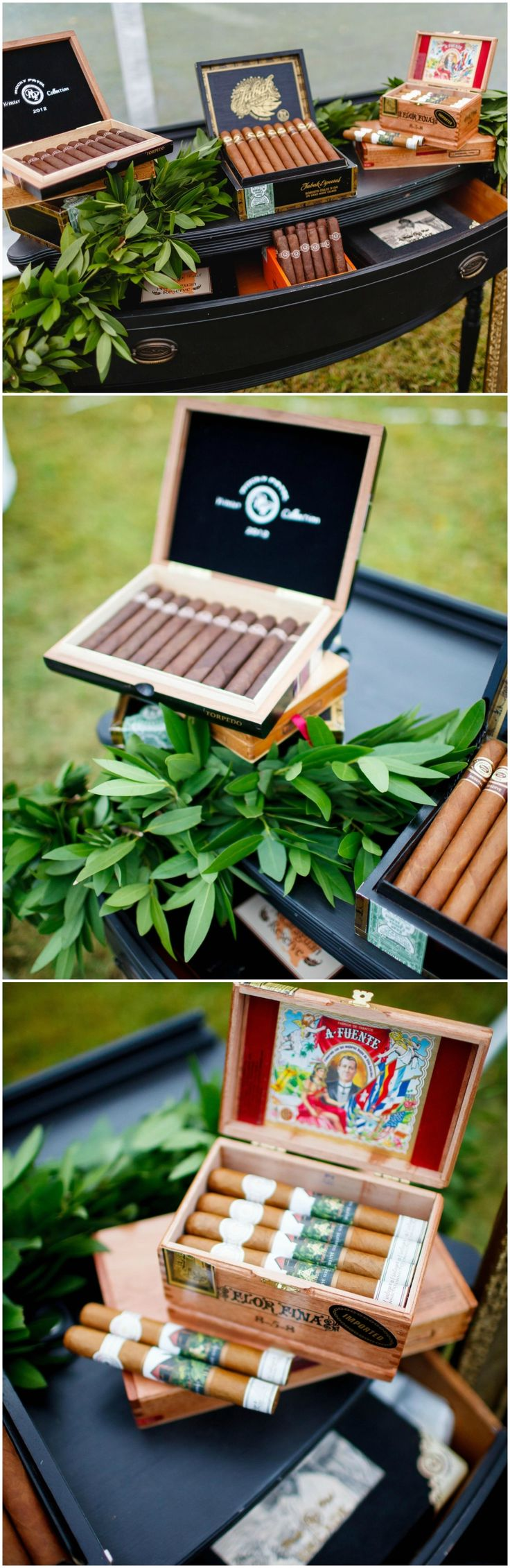 Cigar bar, wedding reception, vintage desk, greenery // Luke and Ashley Photography