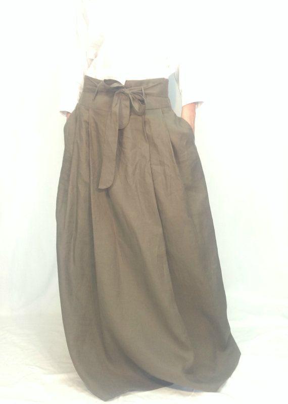 Long Loose Linen Skirt Oversized Summer Maxi Skirt with Pockets and Belt MD10006