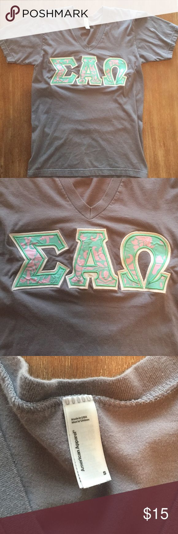 Sigma Alpha Omega Greek Letter Shirt Sigma Alpha Omega Greek Letter Shirt. Brand is American Apparel size Small. Great condition. American Apparel Tops Tees - Short Sleeve