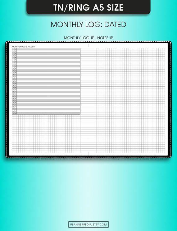 Registro mensual, planificador mensual 2017, #ML1 (insertos imprimibles filofax a5 planificador insertos, insertos de a5, a5 cuaderno de viajeros)