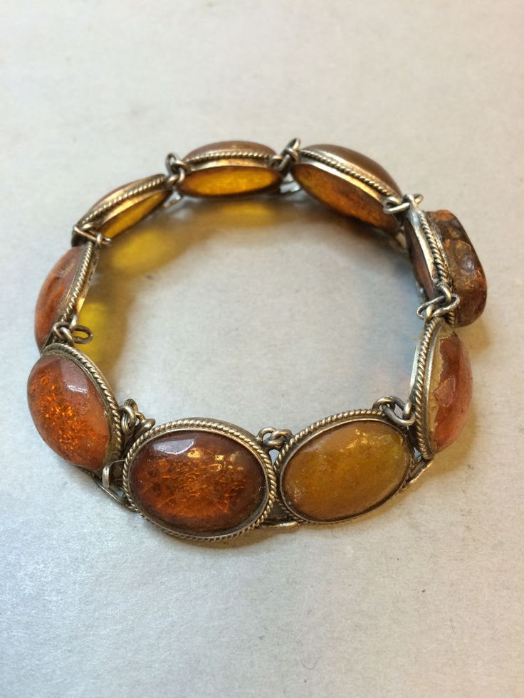 NATURAL OLD ANTIQUE BUTTERSCOTCH BALTIC AMBER SILVER BRACELET 18,9 gr 波羅的海琥珀…