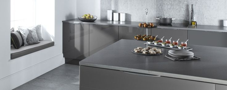 The Otto gloss kitchen, shown here in graphite, is available online from Units Online
