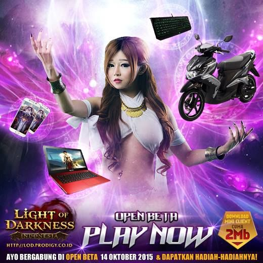 Light of Darkness Indonesia resmi open beta 14 Oktober 2015. Gamers pintar pilih LIGHT of Darkness INDONESIA. Download client (2MB) http://lod.prodigy.co.id/