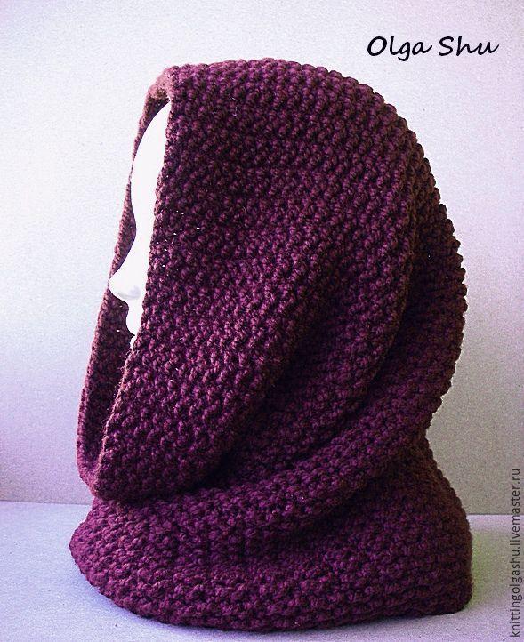 Купить Снуд вязаный шарф на голову хомут ежевичный коричневый темный с фиолет - однотонный