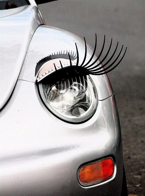 VW Bug - the only car on which eyelashes are   Cute ...