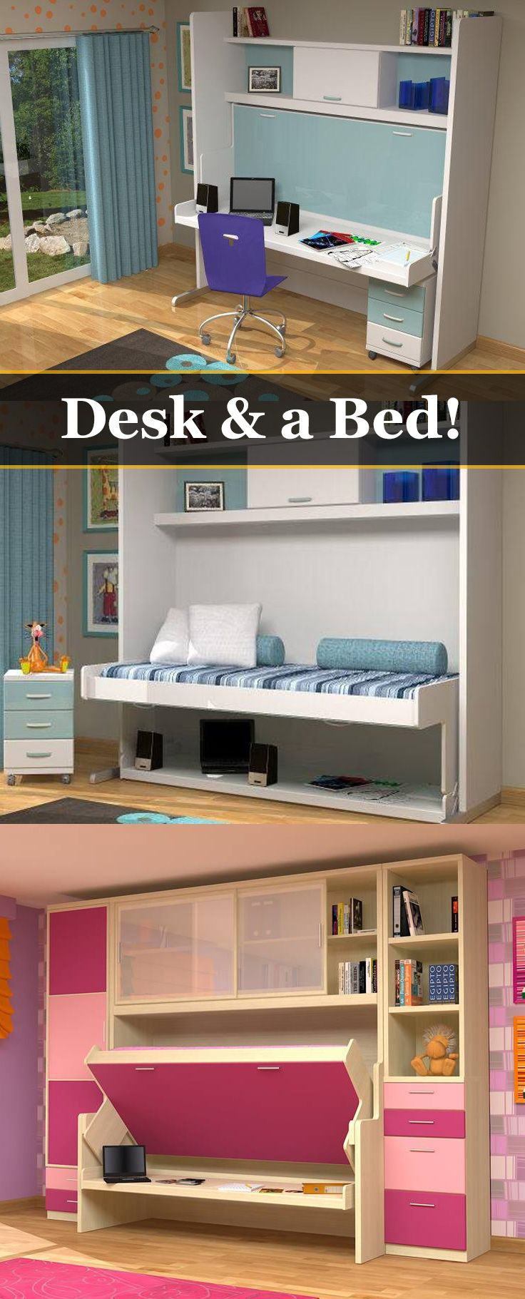 This space-saving system converts your bed to a full-featured desk in only seconds! I love this idea, this would be great in the kiddo's room.