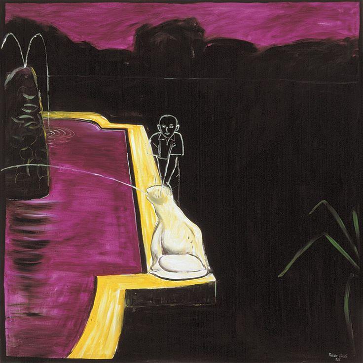 László Fehér (Hungarian, b. 1953), Stone Frog, 1986. Oil on canvas, 200 x 200 cm.
