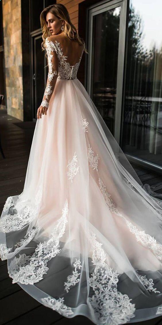 Vintage and Modern A Line V Neck Open Back Long Sleeves Blush Pink Long Wedding …