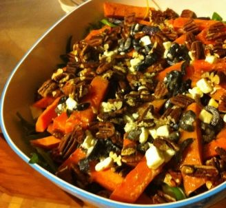 A salad for cooler evenings: Roast Beetroot, Kumara and Pecan Salad with Feta and Olive Dressing