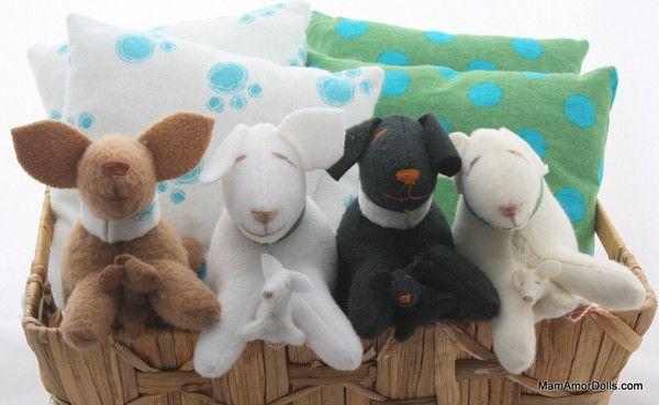 The MamAmor Puppies* are the newest members of the MamAmor family!  Super cute, soft and educational toys that your child will love.  They give birth and breast