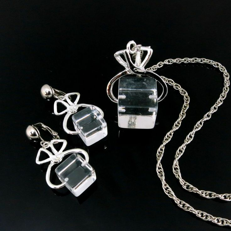 Sold! Lucite Set Ice Cube on Tongs Necklace and Earrings ...