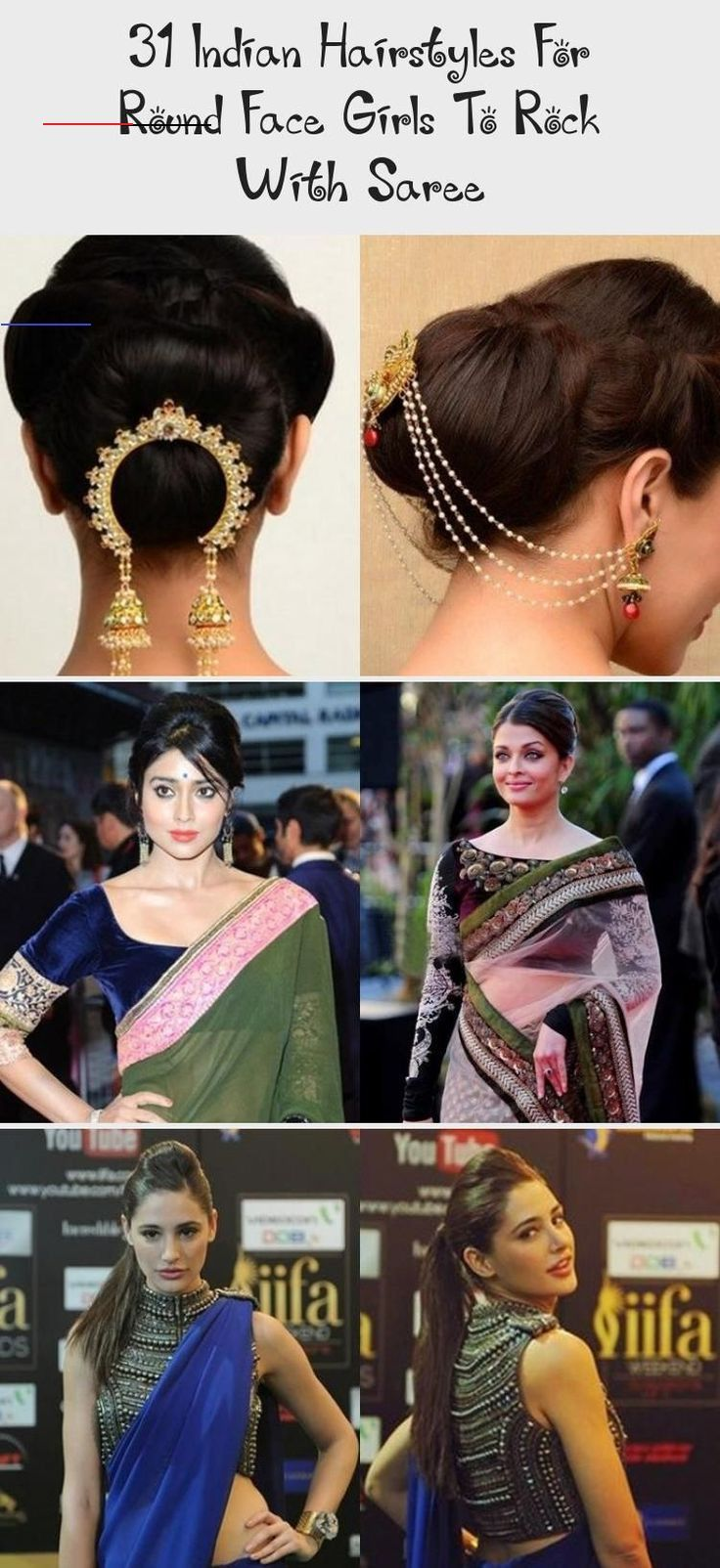 Hairstyle On Saree For Round Face Hairstyle On Saree Indian Hairstyles Saree Hairstyles Hairstyles For Round Faces