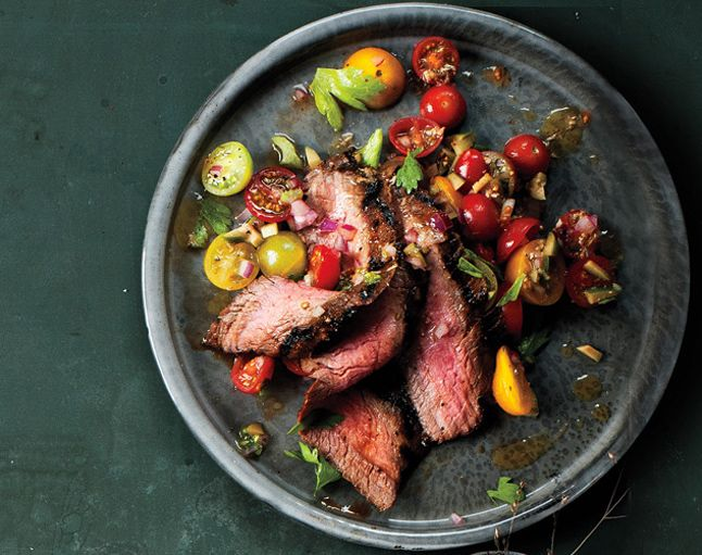 flank steak with heirlooms: Salad Recipes, Tomatoes Salad, Enjoy Your Meal, Food, Bon Appetit, Bloody Mary, Tomatoes Recipes, Mary Tomatoes, Flank Steaks