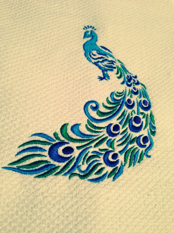 GG1174A Peacock Embroidery Design Full Color