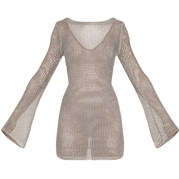 Eshe Sheer Silver Metallic Knitted Mini Dress ($53) ❤ liked on Polyvore featuring dresses, bell sleeve dress, bell sleeve mini dress, metal dress, short dresses and silver metallic dress