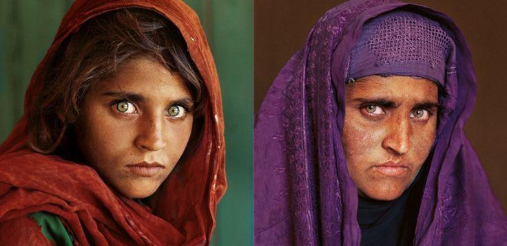 Afghaans meisje 1 (1984) en Afghaanse meisje 2 (2002), Steve McCurry.