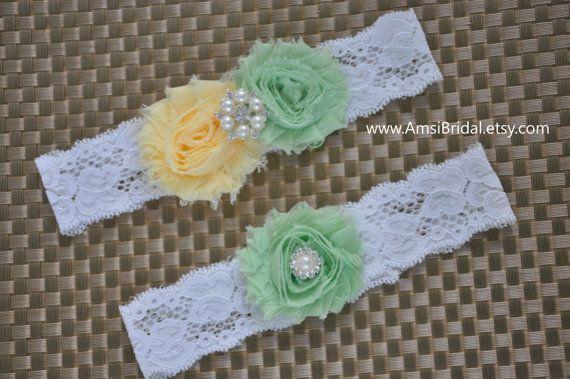 Pale Yellow garter Set,Mint Green Garters,Mint and Pale Yellow garters,Garters,Yellow Garter,Mint Wedding,Pale Yellow wedding,Custom garters