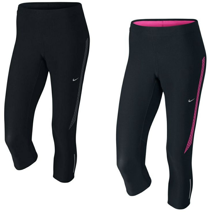 Nike Tech 2 Capri Hose Sporthose Laufhose Leggings Damen Schwarz