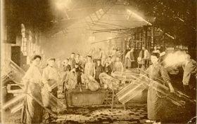 Figure 5: Postcard showing women and children in a cylinder glass factory, Verreries du Centre de Jumet (Belgium, ca. 1910) Rakow Library Chambon Collection.