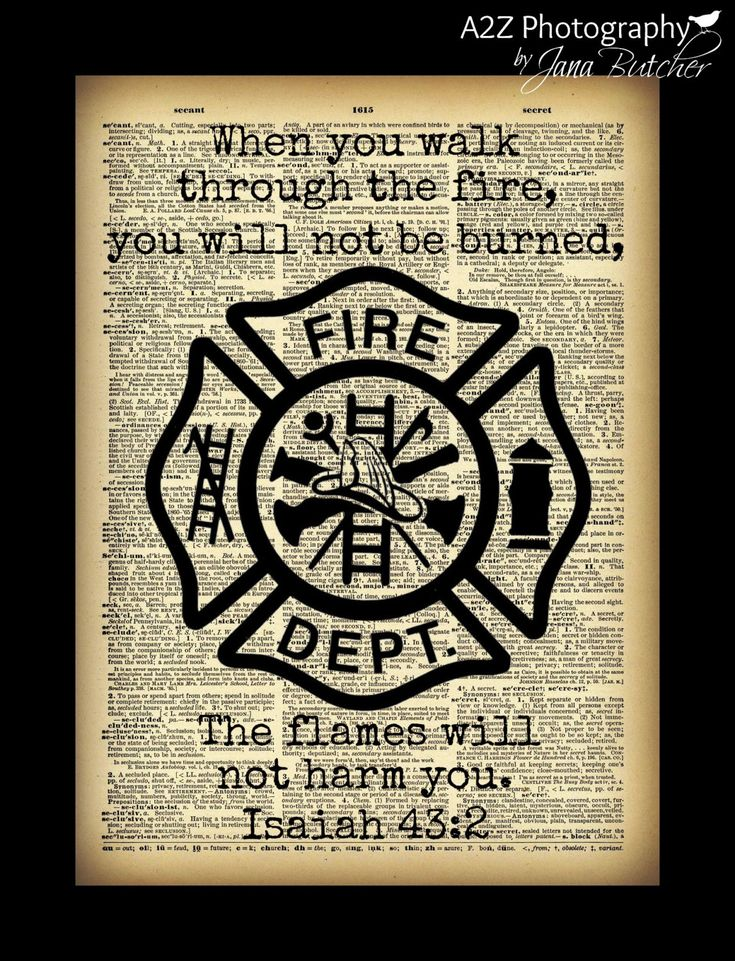 Firefighter quote dictionary page fine art by Backroadsandbball