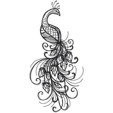 Black Peacock Tattoo Design