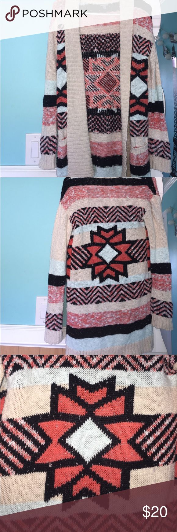 Aztec Print Coral/Light Blue/Black/Tan Cardigan Aztec Print very Beautiful Cardigan Sweater- Worn Once, Practically Brand New, No Flaws/Damages- Size: S from Charlotte Russe- Two Small Pockets in the Front- Very Comfortable Charlotte Russe Sweaters Cardigans