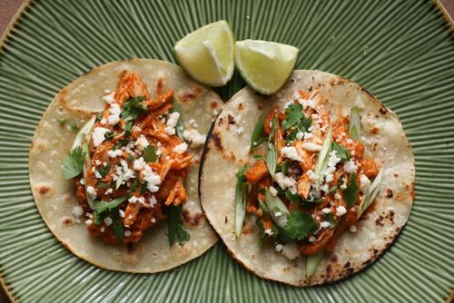 Chicken tinga tacos: December, Chicken Tacos, Food, Chipotle Sauce, Chicken Tinga, Chicken Thighs, Tinga Tacos Chicken, Tacos Maine, Maine Chicken