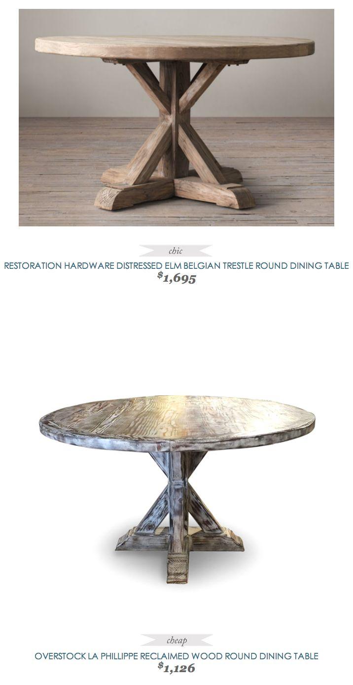142 best decor images on pinterest home dining room and diy restorationhardware distressed elm belgian trestle round dining table 1695 vs overstock la