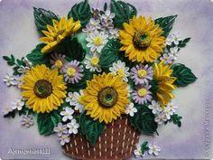 Картина панно рисунок Квиллинг Подсолнухи Бумага фото 1