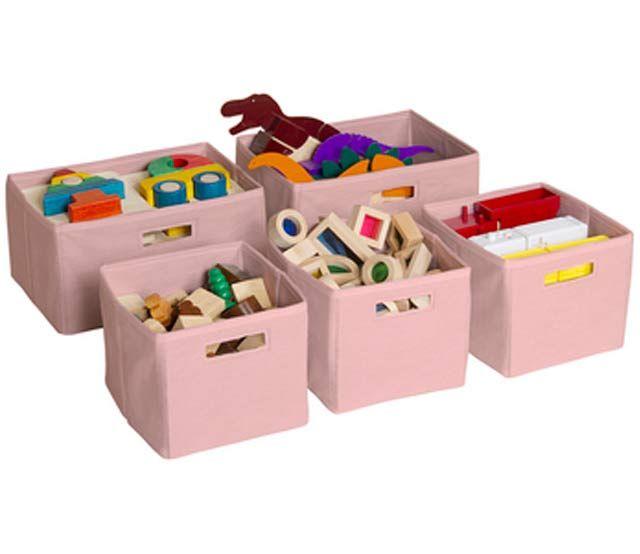 Pink Storage Bins - 5 Pc