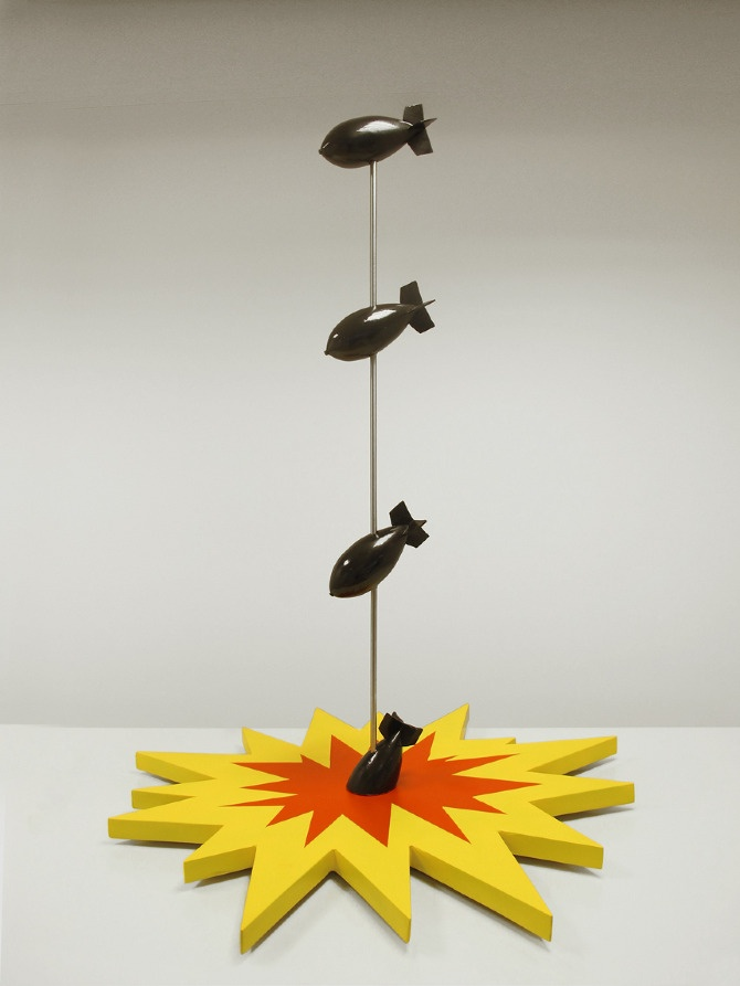 Bombs  Year: 2011  Technique: MDF, Metal, spray paint  Dimensions: Length 120, Width 100, Height 150 cm