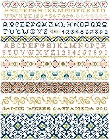 Ornamental Band Sampler Cross Stitch Pattern - Black Phoebe Designs