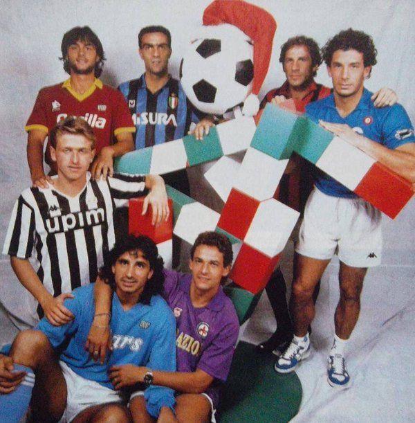 Giuseppe Giannini ,Giuseppe Bergomi ,Franco Baresi ,Gianluca Vialli ,Giancarlo Marocchi ,Andrea Carnevale y Roberto Baggio.
