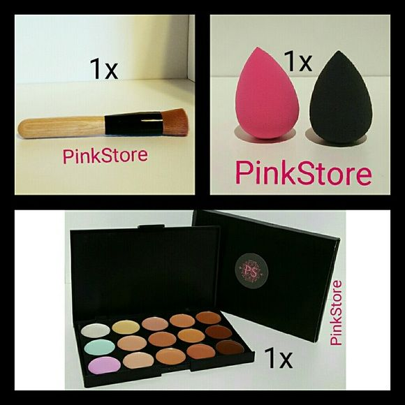 Contour/Concealer Palette+Blender+Brush New ****Please Read Before Purchasing****    Great for Contouring and Foundation Makeup   Brand New   No Brand    1x Full Size Blender Sponge  New 1x Contour Palette New 1x Wood Finish Brush Full Size New   Colors Available for Sponges  -Pink -Black  Send me your color before or after your purchase  your choice of sponge    Check my store for more products :)   I ship via USPS with tracking     Price is Firm (Please Don't Make Any Offers) (I only give…