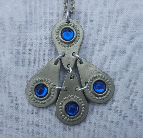 Swedish vintage pewter necklace with blue glass by ElineaVintage