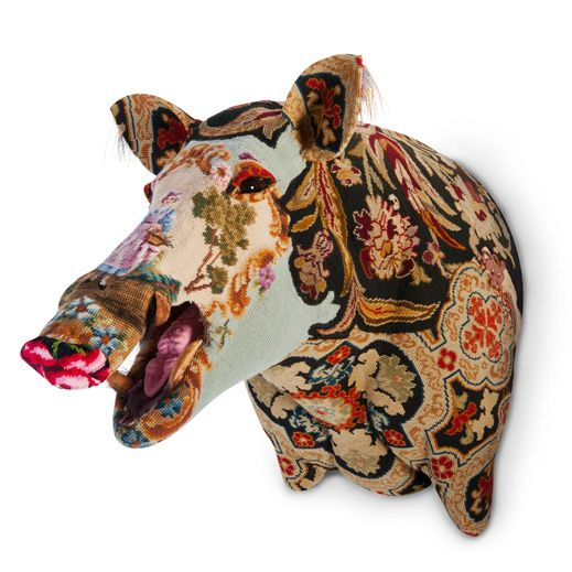 Frederique Morrell. Tapesty bust of hog. Decycled.