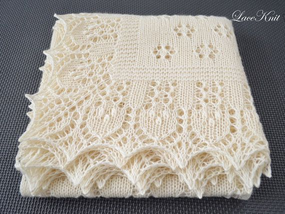Christening Blanket Knitting Pattern : Shawl. Soft hand knitted lace baby shawl. SMALL size. Ivory square christenin...