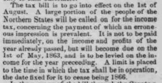 """""""The Passage of the Tax Bill"""" detailing the new income tax, from the N.Y. Herald, printed in The Indiana State Sentinel: Vol. 22, No. 6, Whole No. 1,199,…"""