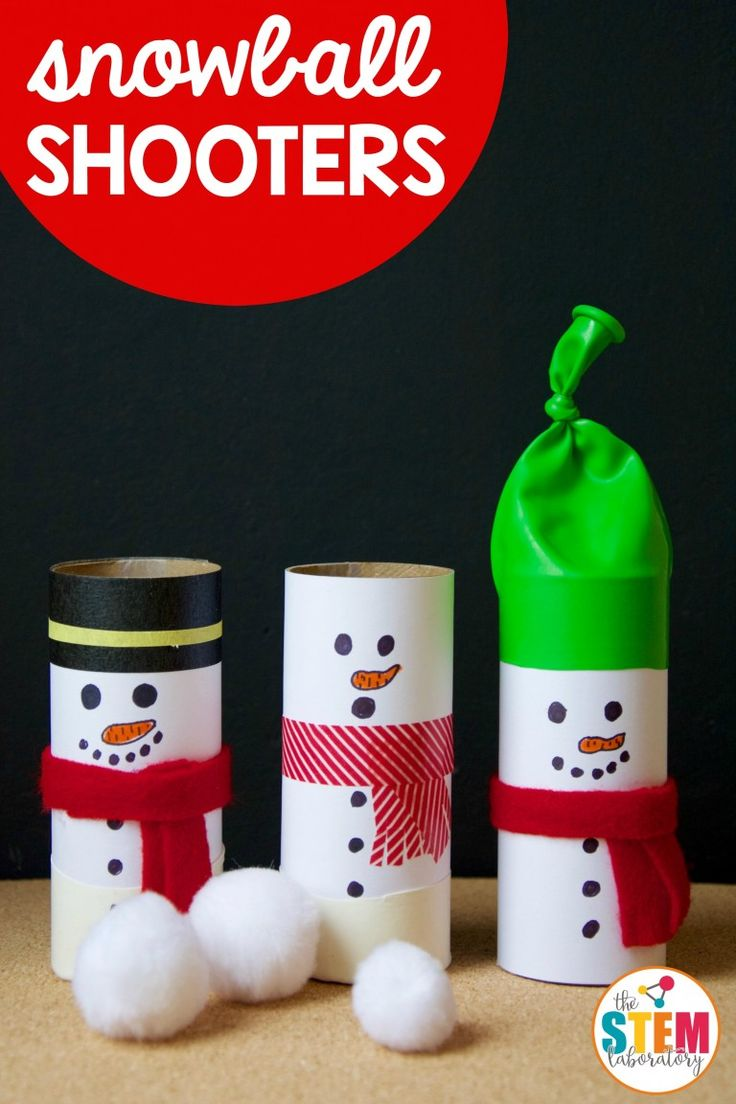 Snowball shooters are an awesome winter STEM activity! Oh so cute and are a snap to make- a hilariously fun way to explore some key concepts in physics with young kids this winter! #STEMLaboraory #winterSTEAM #snowmen