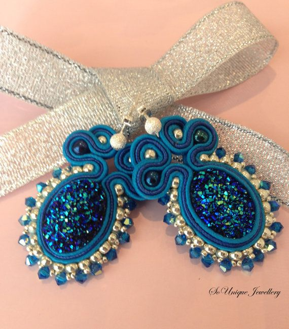 Peacock sparkly soutache earrings by SouniqueJewellery on Etsy, £13.00
