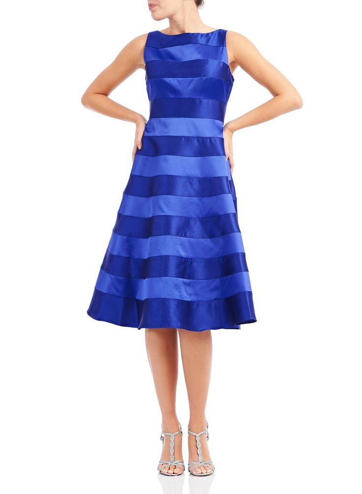 Robe de soirée à rayures, Bleu, hi-res