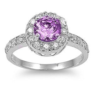Sterling Silver Cocktail Ring with Purple CZ Stones - February Birthstone Ring Jewelry By Marcus. $18.99. Band Width: 2 mm. Made of Sterling Silver, Rhodium Plated. Stone: Amethyst, Clear CZ. Face Height: 6 mm