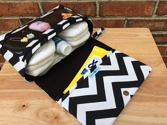 New and larger black chevron diaper bag baby gift for new