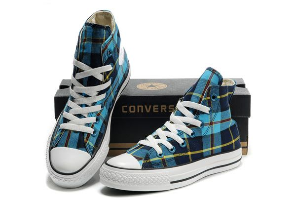 Converse Chuck Taylor High Top Blue Plaid Canvas Shoes