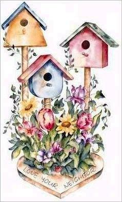 Quite vintage bird house paintings