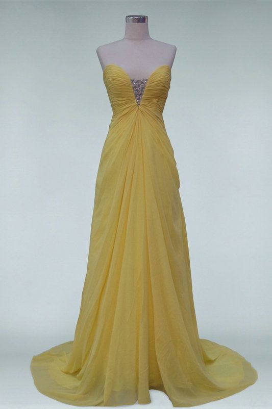 Chiffon Strapless Beaded Slinky Yellow Prom Dress On Sale,Affordable Evening Dresses-Cheap Evening Dresses,Affordable Evening Gown,Women Evening Dresses Sales Online